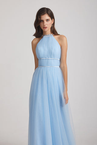 Halter Ruched Crisscross Tulle Blue Bridesmaid Dresses