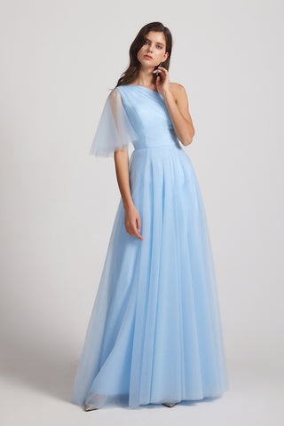 One Shoulder Flutter Sleeve A-line Tulle Long Blue Bridesmaid Dresses