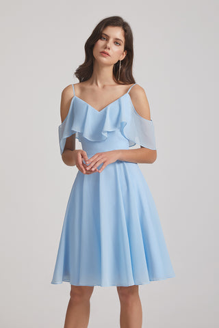 Cold Shoulder Flounced Blue Chiffon Short Bridesmaid Dresses