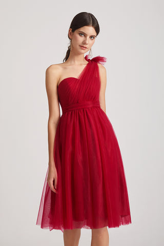 Convertible Neckline Short A-line Tulle Pleated Bridesmaid Dresses