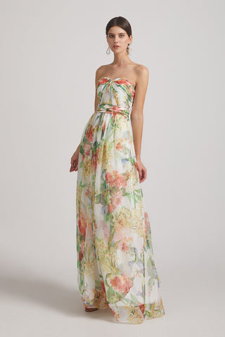 Floral Chiffon Convertible A-line Ruched Bridesmaid Dresses