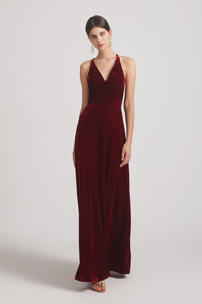 V-neck Cowl Velvet Sleeveless Long Bridesmaid Dresses