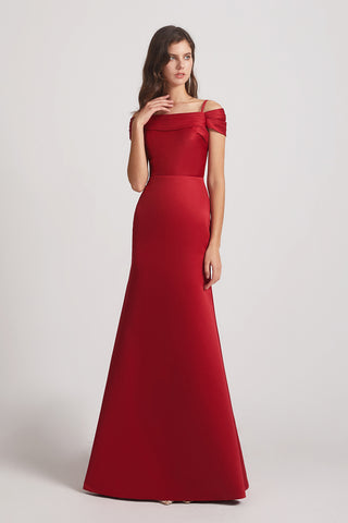 Spaghetti Straps Off The Shoulder A-line Bridesmaid Dresses