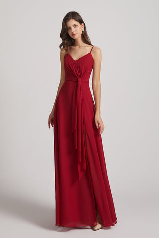 Spaghetti Straps V-neck Chiffon A-line Ruched Bridesmaid Dresses