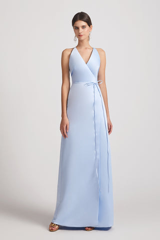 V-neck Tie-waist Open Back Long Satin A-line Bridesmaid Dresses