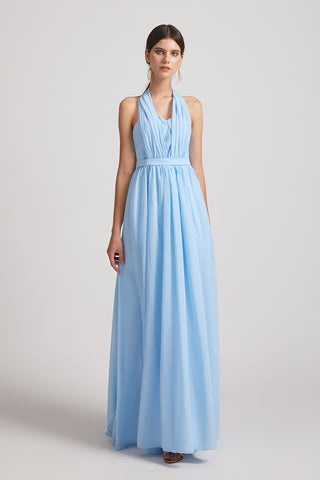 Chiffon Convertible Sleeveless A-line Ruched Long Bridesmaid Dresses