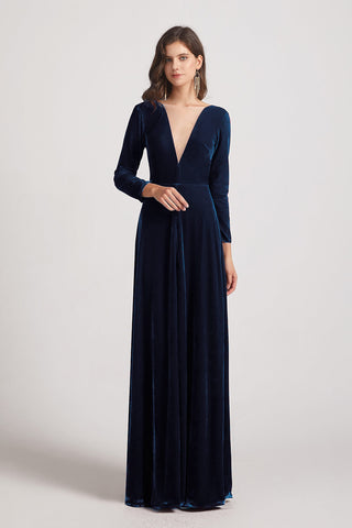 Illusion V-neck Long Sleeve Velvet Bridesmaid Dresses