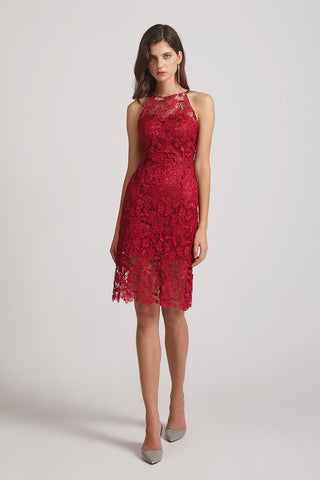 Halter Sleeveless Sheath Red Lace Bridesmaid Dresses