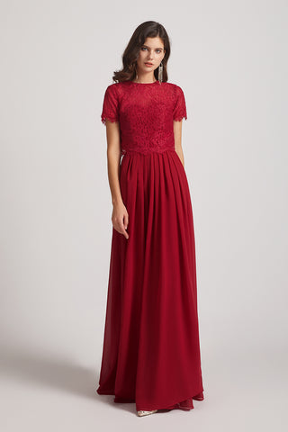 Jewel Lace Top Short Sleeve Long Pleated Bridesmaid Dresses