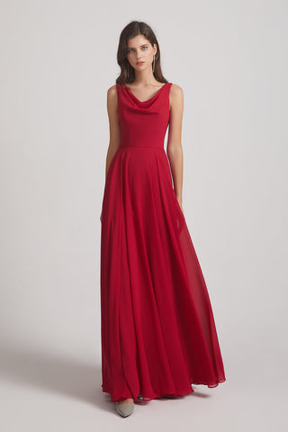 Sleeveless Cowl Chiffon Red A-line Bridesmaid Dresses