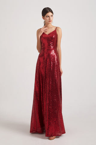 Spaghetti Straps V-neck Draped Back Sequin Bridesmaid Dresses