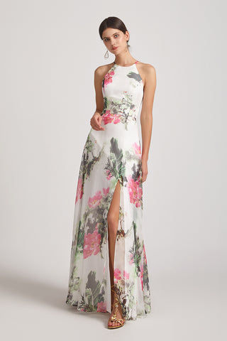 Halter Sleeveless Floral Pinted A-line Ruched Bridesmaid Dresses