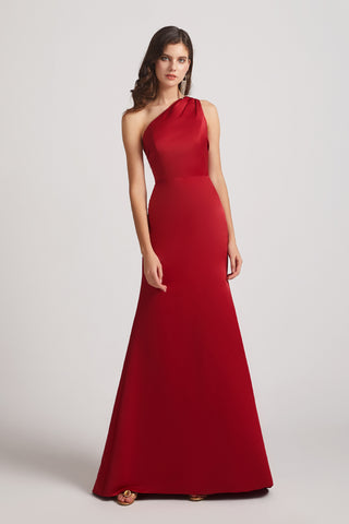 One Shoulder Satin Sheath Red Long Bridesmaid Dresses