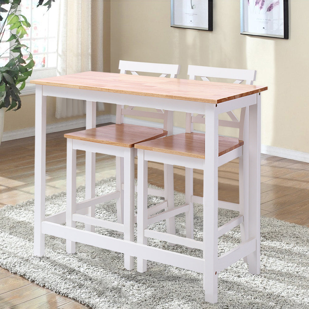 3 Piece Pine Pub Bar Table Set Kitchen Counter Height Table Set with 2 Stools