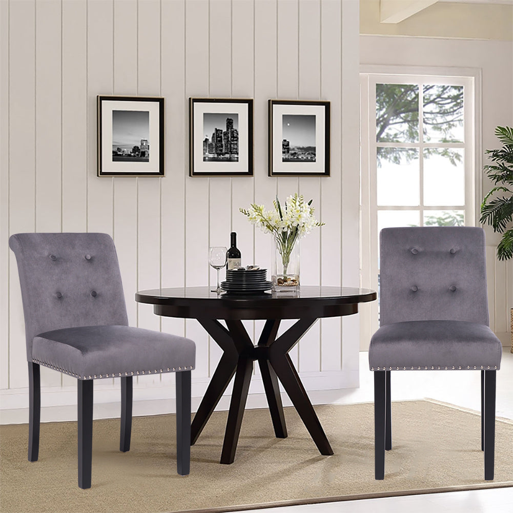 2PCS Velvet Linen Dining Chair with Nailhead Button Scroll High Back Kitchen Chairs