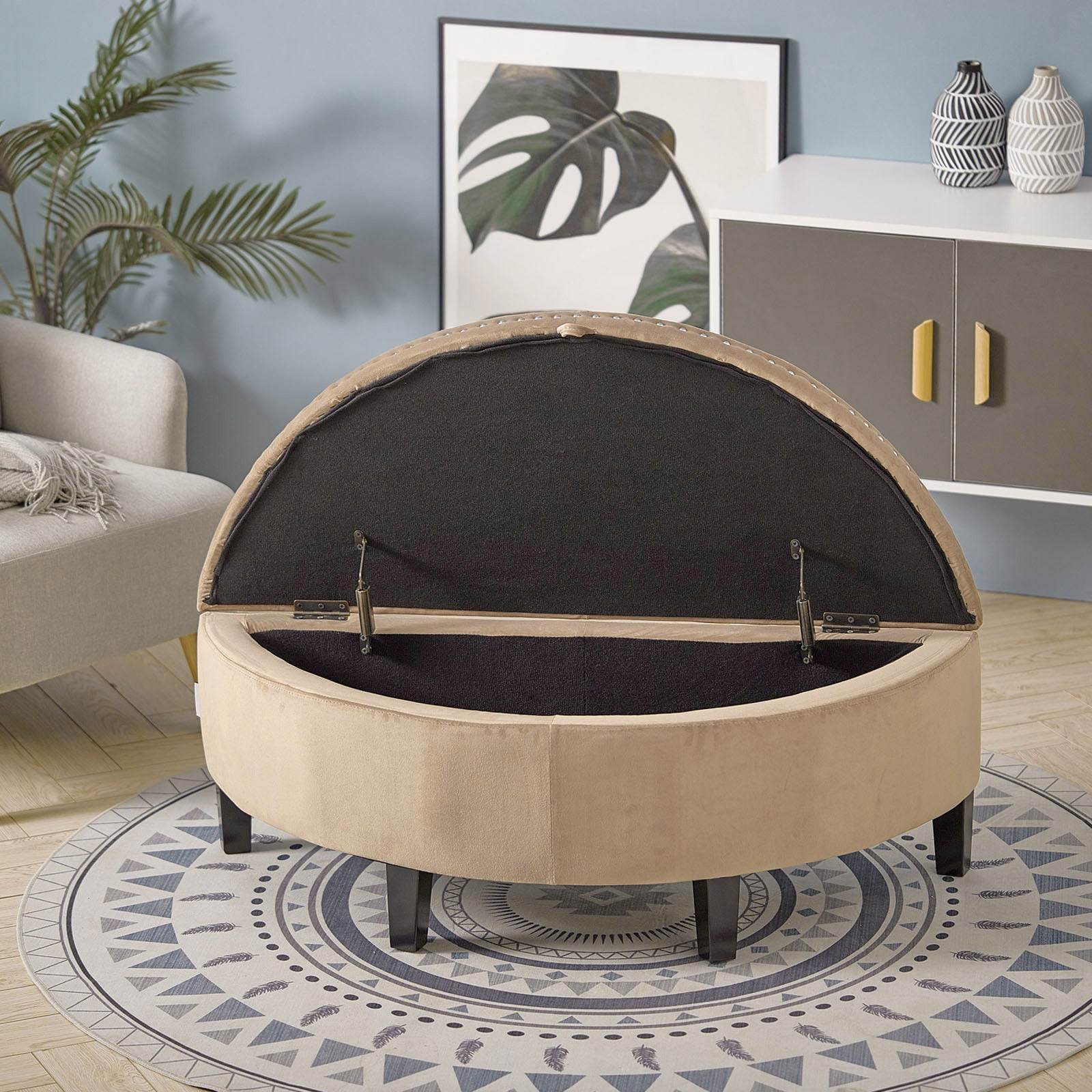 Velvet Ottoman Storage Bench Semi Round Chest Box Chair Footstool Wall Side Seat