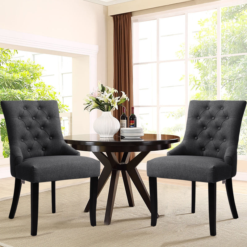 2x Button Back Dining Chairs Retro Fabric Padded Kitchen Dinner Seat