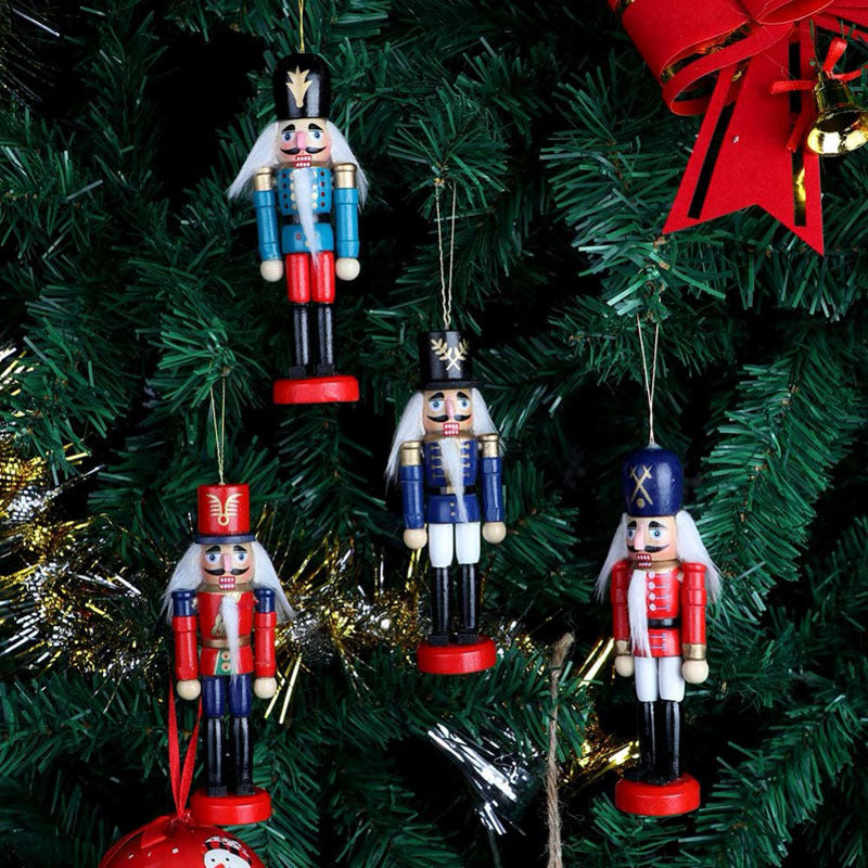 6Pcs Handcraft Traditional Wooden Nutcracker Soldier Set Christmas Ornament
