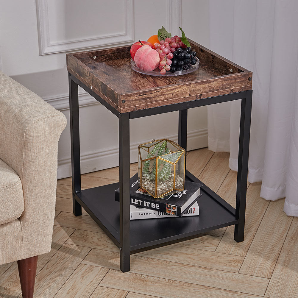 2 Tier Square Wood Coffee Table End Table Nightstand