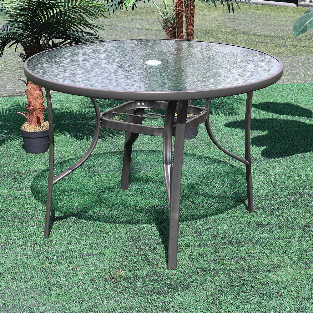 Outdoor Glass Table w/Umbrella Hole Bistro Balcony Drinks Coffee Tables