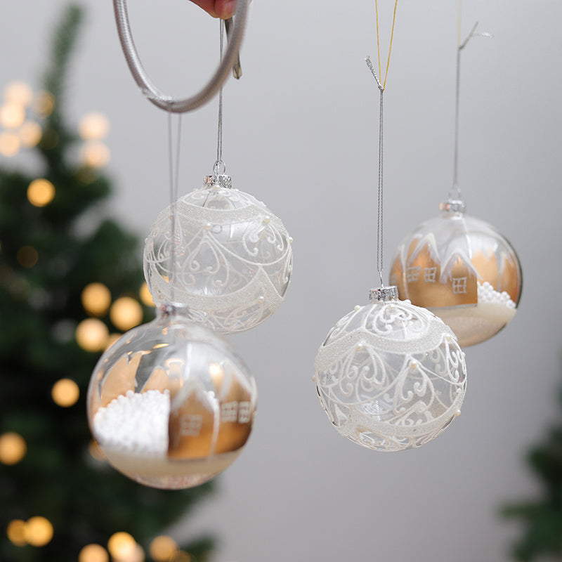 6Pcs Painted Decor Christmas Shop Hanging Baubles Craft Xmas Mixed Glitter Balls