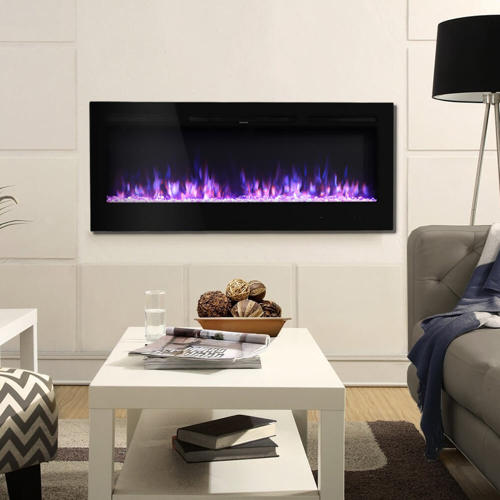 60 Inch Wall Recessed Dimmable LED Electric Fireplace Log Crystal Flame Remote