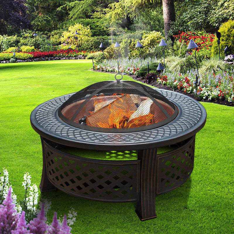 32 Inch Outdoor Charcoal BBQ Fire Pit 3 in 1 Brazier Stove