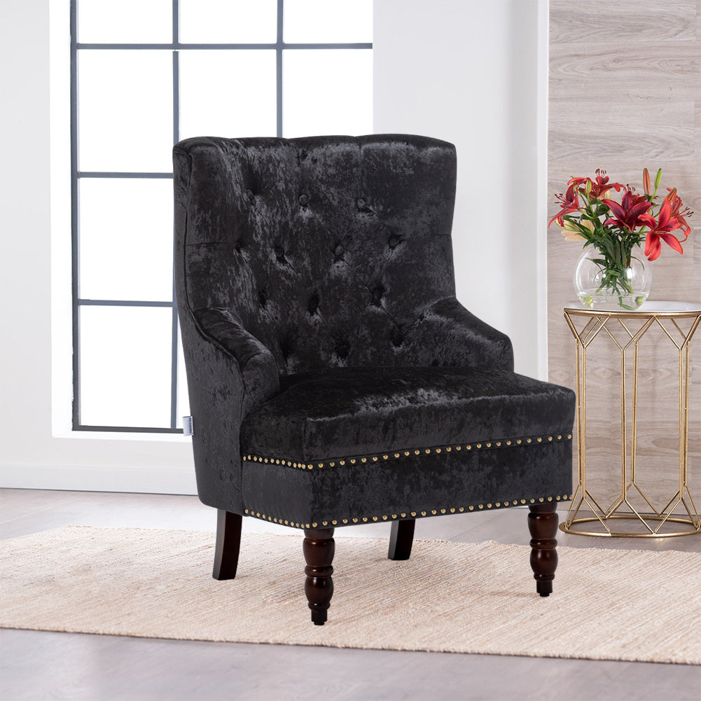 Chesterfield Crushed Velvet Dining Chair Button Studded Armchair