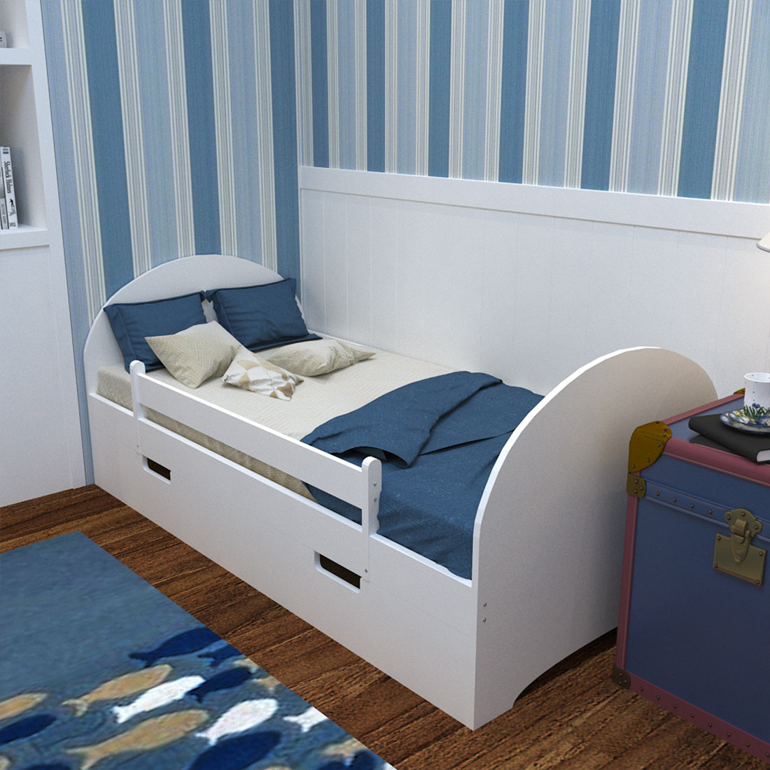 Solid Pine Wood Kids Children Bed Frame Drawers & Safety Rails