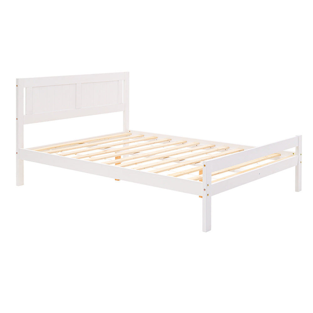 4ft White Double Size Bed Frame Wood Solid Pine Bedstead Headboard