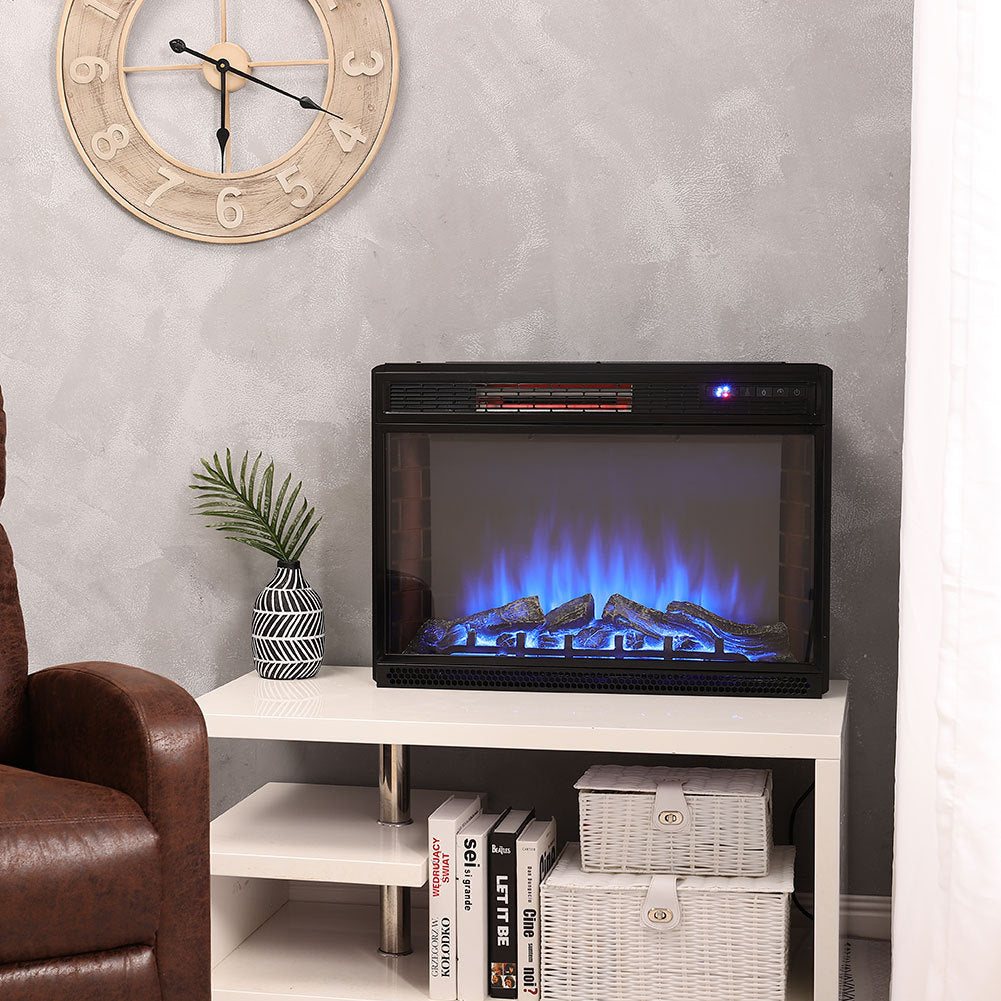 26 Inch Wall Mounted LED Flame Effect 3 Colour Light Electric Fireplace Heater Remote Control