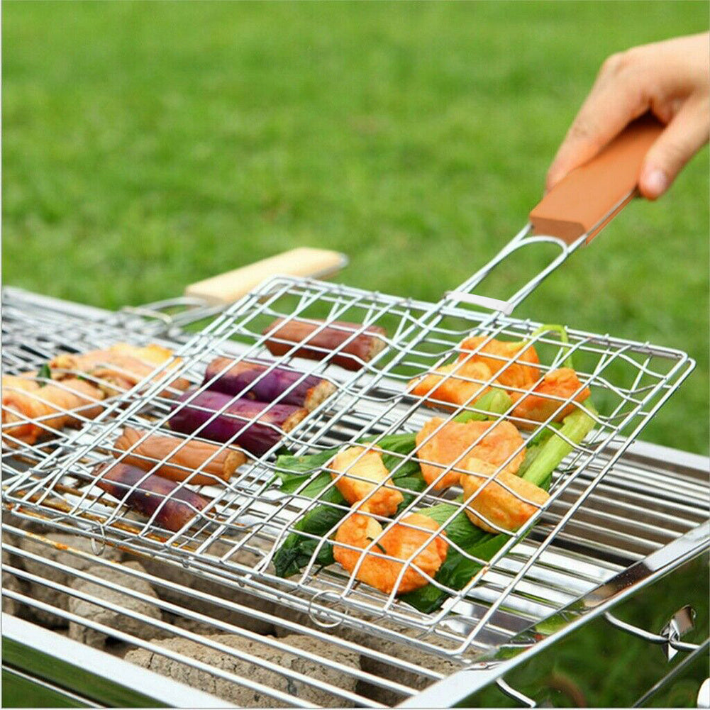 Stainless Steel BBQ Grill Basket Wooden Handle