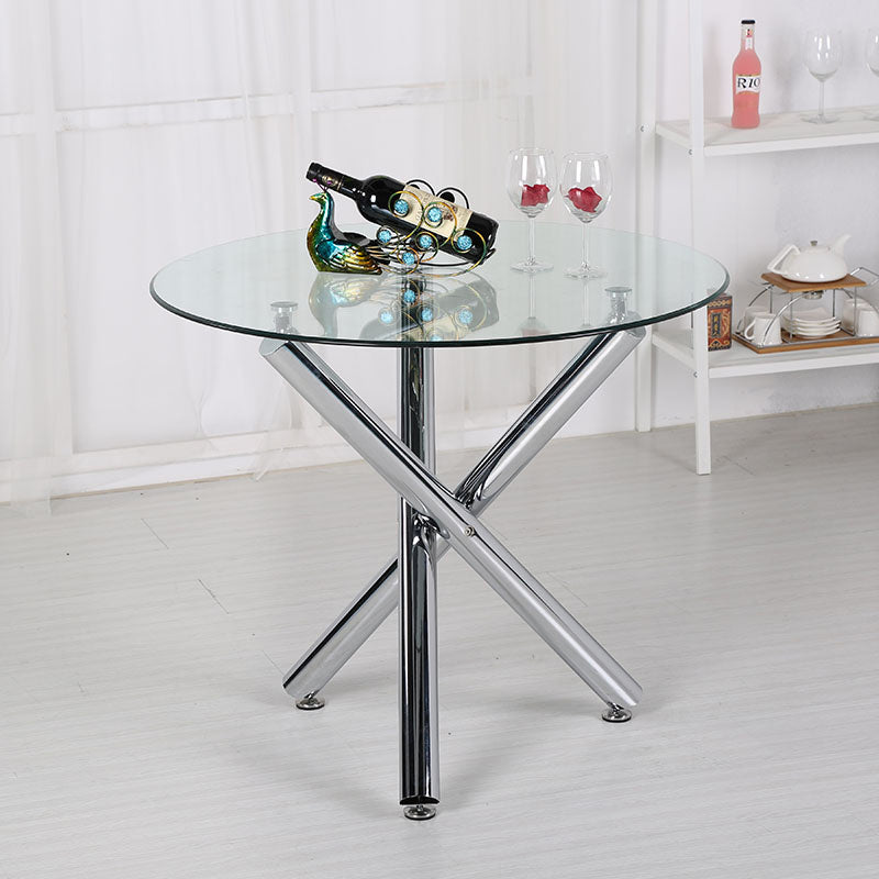 Modern Round Tempered Glass End Table Accent Table in Silver Chrome