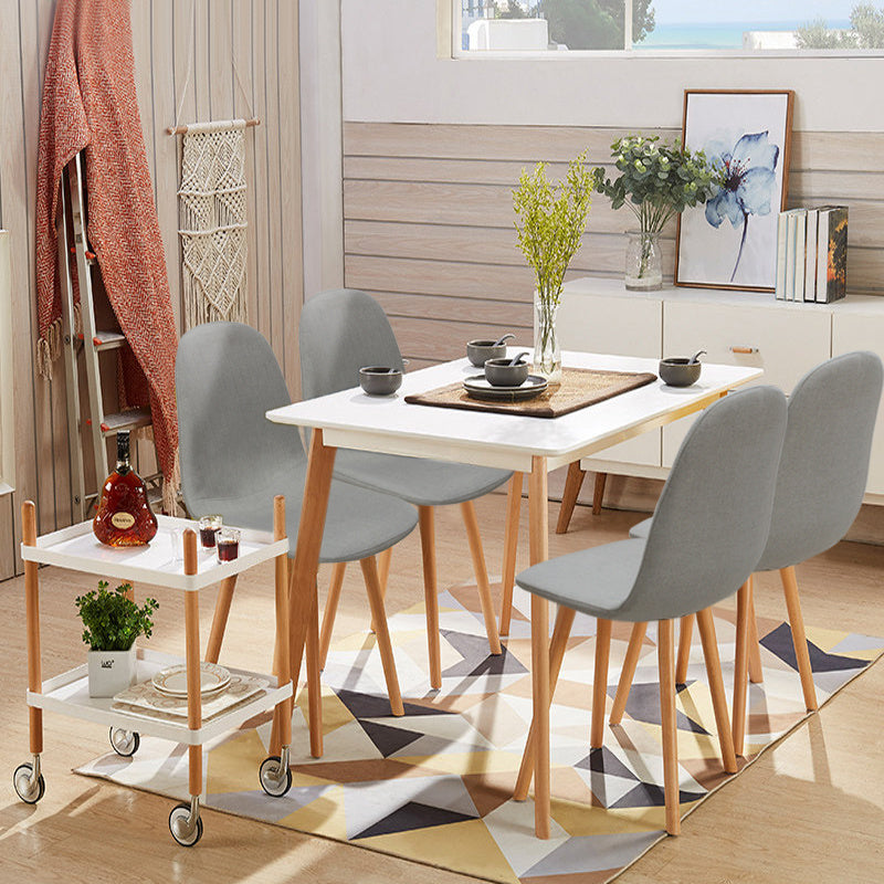 4pcs Scandinavian Modern Dining Table and 4 Chairs Home Kitchen Furniture