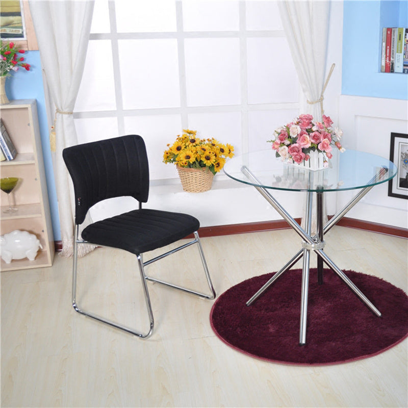 Contemporary Round Tempered Glass Accent Side End Table Chrome