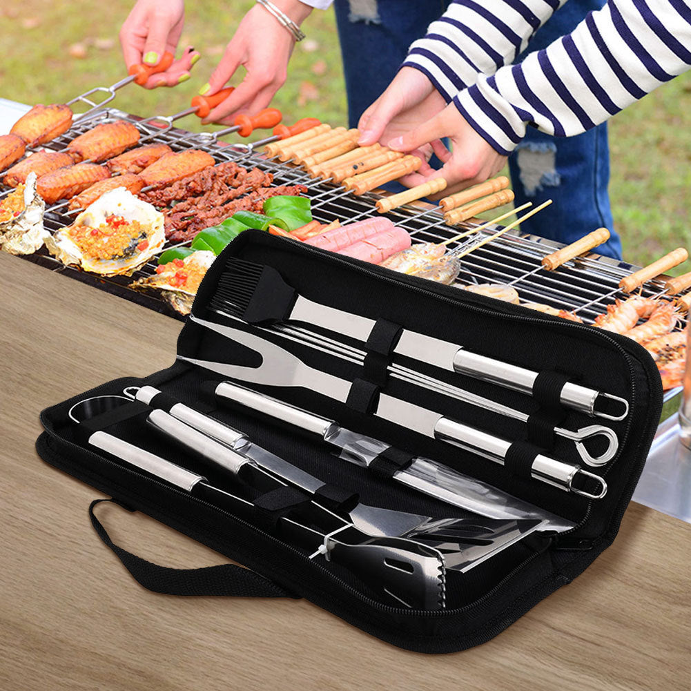 9pcs Stainless Steel Barbecue Grill Tools Set Cooking Utensils