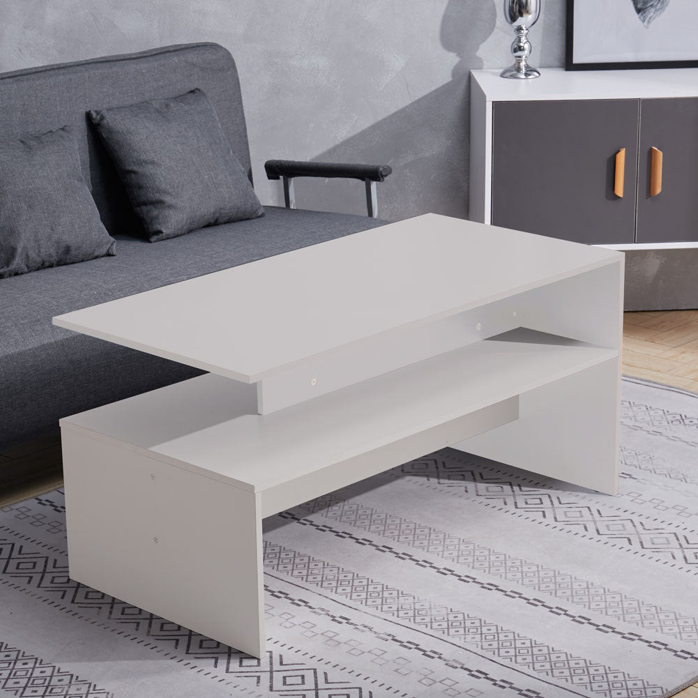 2 Tier Wooden Coffee Table Rectangle End Cocktail Table