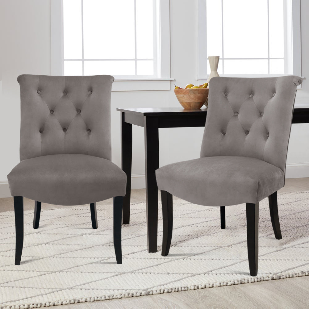 2pc Chesterfield Louis Tufted Upholstered Dining Chairs Kitchen Wingback Chair