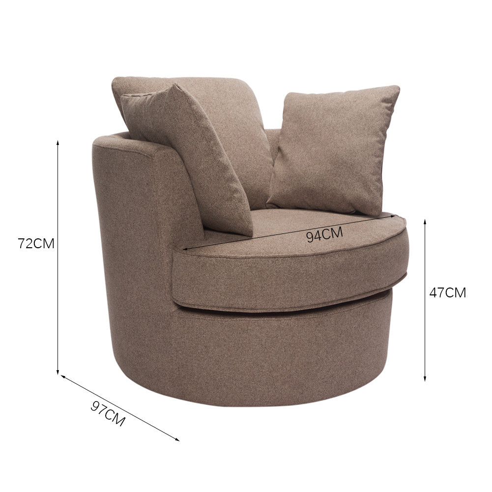 Large Linen Swivel Tub Chair Cuddle Armchair with Pillows
