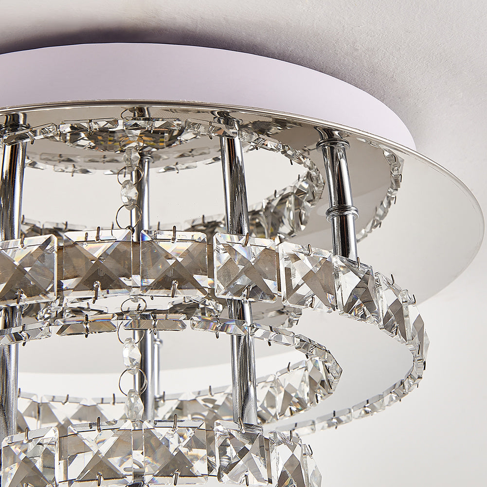 30w Round Crystal LED Flush Ceiling Light Double Chandelier