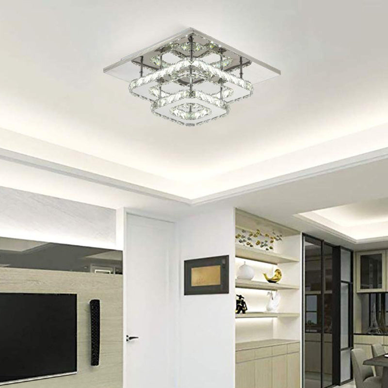 36w Crystal LED Flush Ceiling Light Double Square Ceiling Lamp