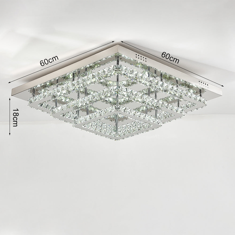 Square 86W Cool White/Dimmable LED Ceiling Light Crystal Flush Chandelier Pendant