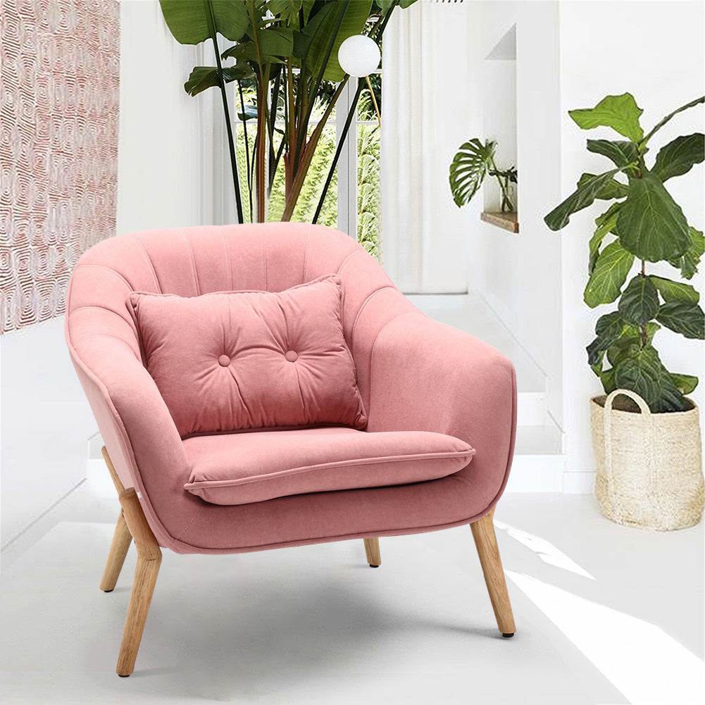Pink Matte Velvet Mordic Shell Armchair Tub Single Occasional Lounge Chair