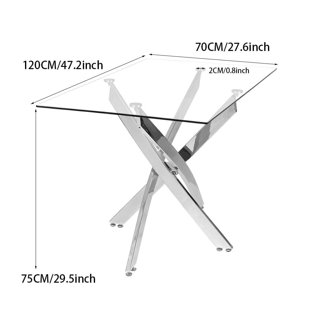 Rectangle Clear Tempered Glass Coffee Table End Table Chrome Legs