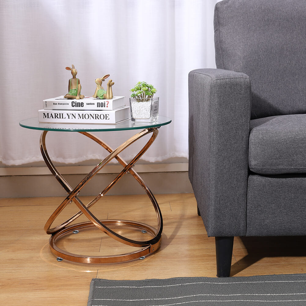 Round Tempered Glass Coffee Tea Table End Table Spiral Chrome Base
