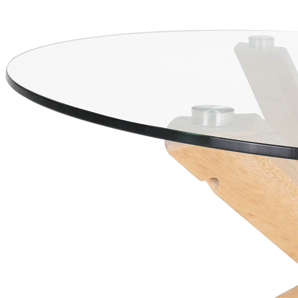 Round Tempered Glass Top Dining Table Coffee Desk