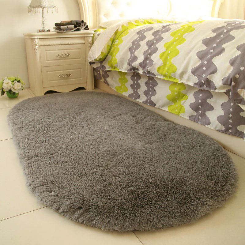 Grey Soft Faux Fur Sheepskin Rug Oval Mat Chair Cover Seat Pad