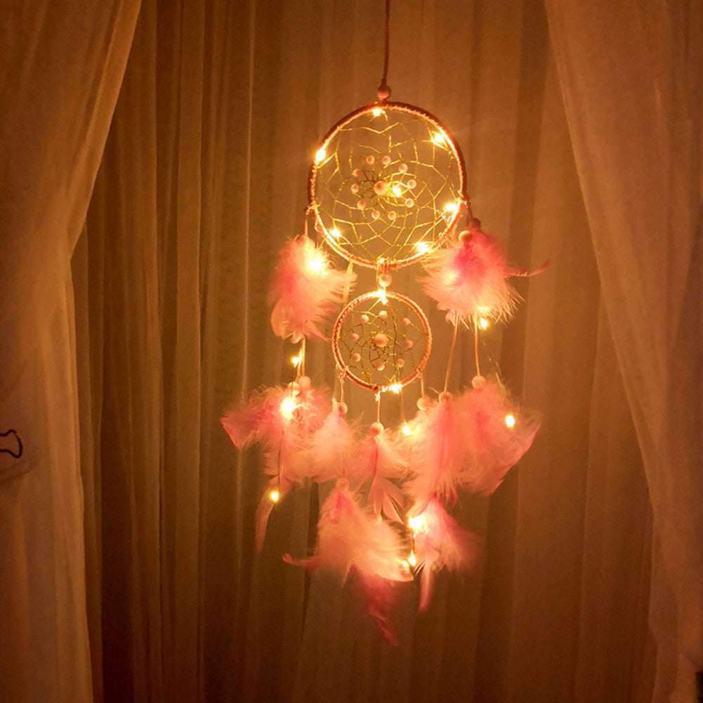Pink LED Light Feather Ring Dream Catcher Dreamcatcher Gifts Room Decor
