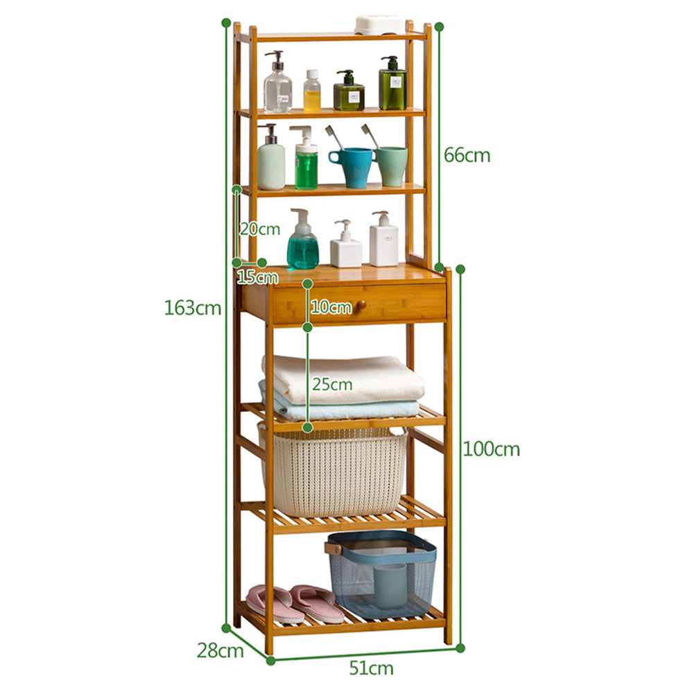 7 Tier Wood Bookcase Cupboard Storage Shelf Shelving Unit with Drawer