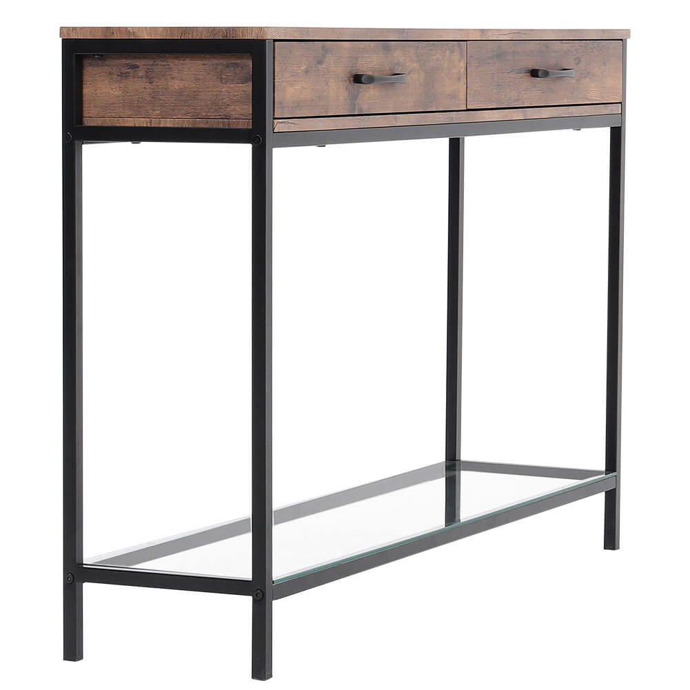Wood Console Table End Side Table Hallway Entryway Desk with 2 Drawers